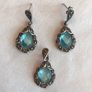 Aquamarine & marcasite pendant and earrings